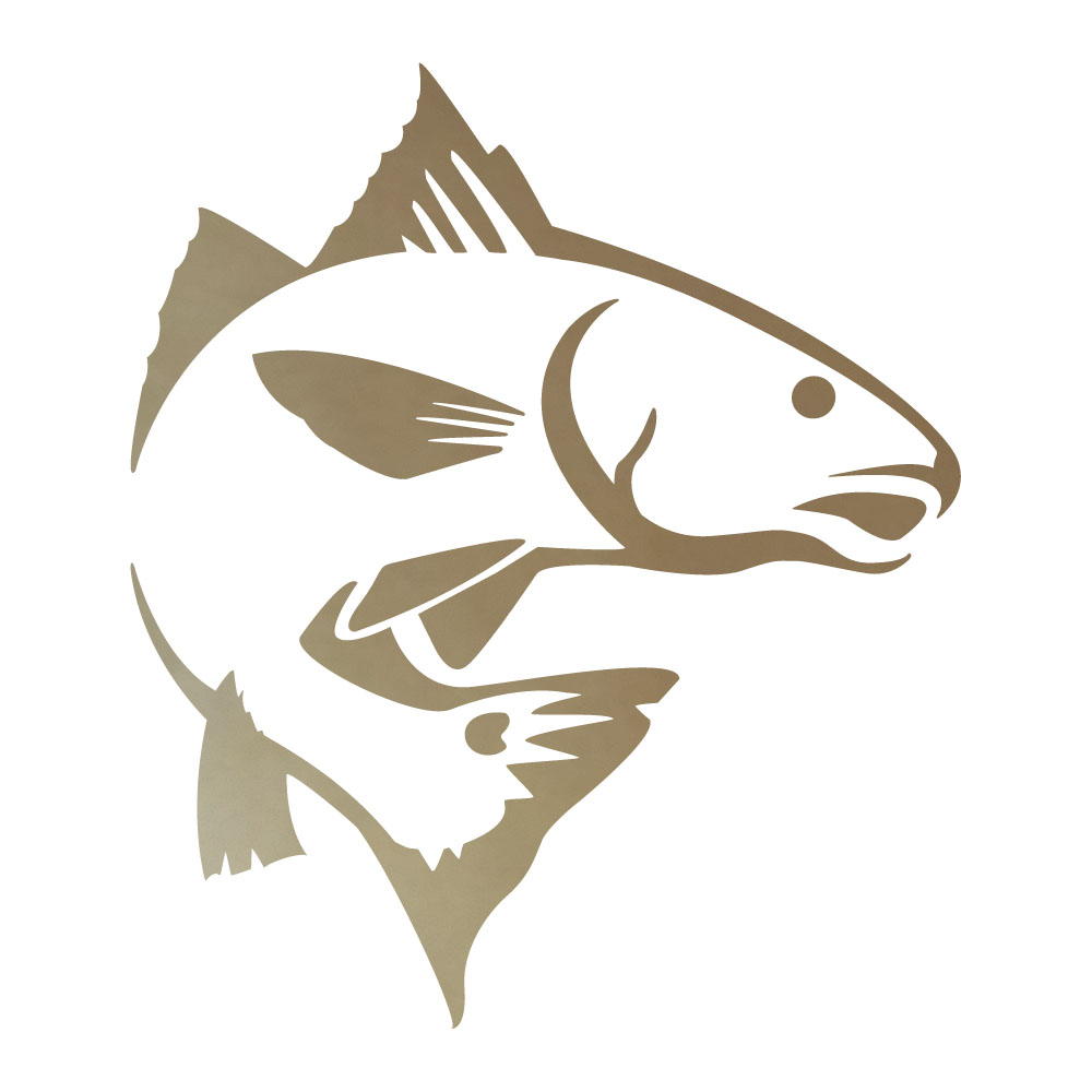 Red fish jumping vinyl decal sticker in dark colors ebay for Free fishing stickers