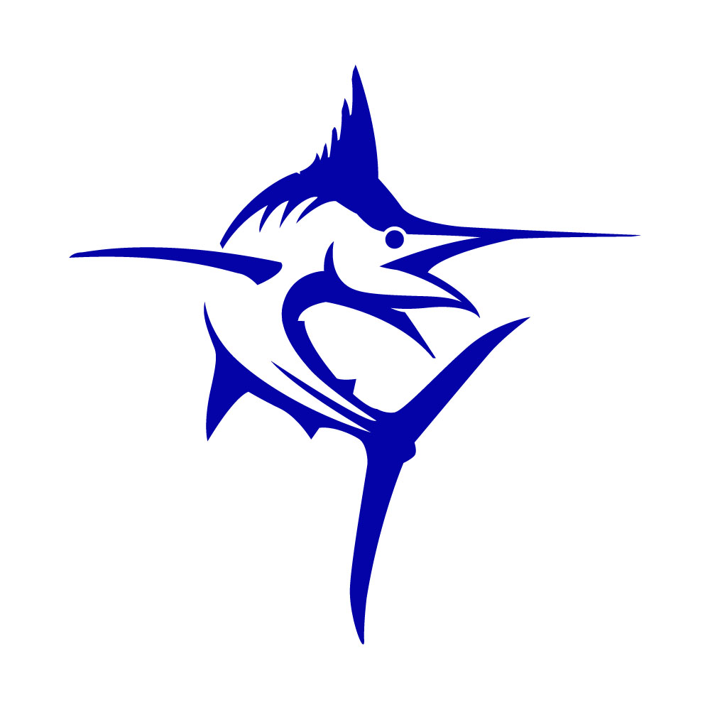 blue marlin vinyl decal sticker in dark colors ebay