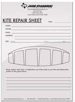 Air Padre Kiteboarding Kitesurfing Kite Repair Form