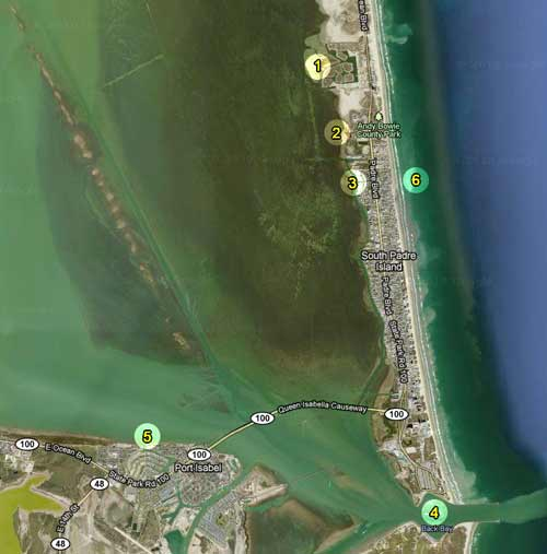 Map of places to kayak on South Padre Island, Texas