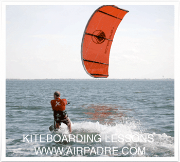 kitesurfer Learning how to kite board in the shallow, flat, and
