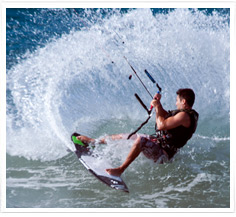 Kitesurfing in the Waves